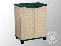 Gartenbox mit Regalen, 75x52, 5x91, 5cm, grün/beige