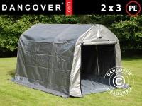 Lagerzelt Zeltgarage Lagerzelt Garagenzelt Garagenzelt PRO 2x3x2m PE, mit Bodenplane, Grau