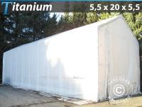 Lagerzelt Zeltgarage Lagerzelt Garagenzelt Garagenzelt Titanium 5, 5x20x4x5, 5m, Weiß