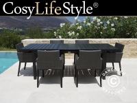 Gartenmöbel-Set Polyrattan-Gartenmöbel, Miami, 1 Tisch + 6 Stühle, schwarz/grau