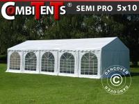 Partyzelt Festzelt Pavillon, SEMI PRO Plus CombiTents® 5x10m, 3-in-1, Weiß