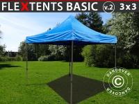 Faltzelt Faltpavillon Wasserdicht FleXtents Basic v.2, 3x3m Blau
