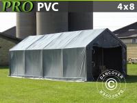 Lagerzelt Zeltgarage Garagenzelt PRO 4x8x2x3, 1m, PVC, Grau
