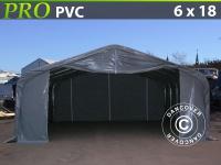 Lagerzelt Zeltgarage Lagerzelt Garagenzelt Garagenzelt PRO 6x18x3, 7m PVC, Grau