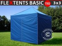 Faltzelt FleXtents Basic 110, 3x3m Blau, mit 4 wänden
