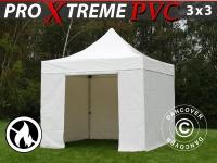 Faltzelt Faltpavillon Wasserdicht FleXtents Xtreme Heavy Duty 3x3 m, Weiß mit 4 Seitenwänden