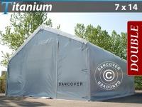 Lagerzelt Titanium 7x14x2, 5x4, 2m, Weiß / Grau