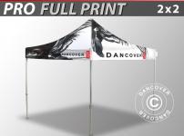 Faltzelt Faltpavillon Wasserdicht FleXtents PRO mit vollflächigem Digitaldruck, 2x2m
