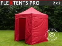 Faltzelt FleXtents PRO 2x2m Rot, mit 4 wänden