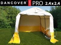 Lager- und Arbeitszelt PRO 2, 4x2, 4x2m, PVC, weiß/gelb, flammfest