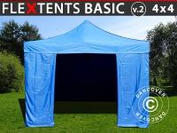 Faltzelt FleXtents Basic v.2, 4x4m Blau, mit 4 wänden