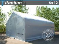Zelthalle Titanium 6x12x3, 5x5, 5m, Weiß/Grau