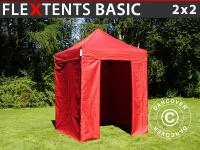 Faltzelt FleXtents Basic, 2x2m Rot, mit 4 wänden
