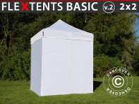 Faltzelt Faltpavillon Wasserdicht FleXtents Basic v.2, 2x2m Weiß, mit 4 wänden