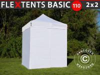 Faltzelt FleXtents Basic 110, 2x2m Weiß, mit 4 wänden