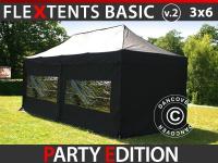 Faltzelt FleXtents Basic v.2, 3x6m Schwarz, mit 6 wänden