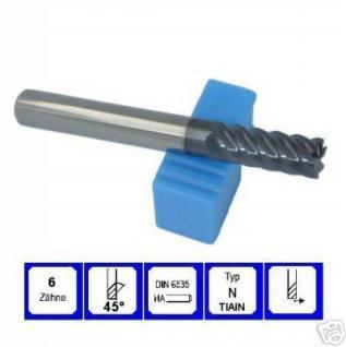 Schaftfräser 10 mm VHM TIAIN 6 schneidig 45° DIN6535