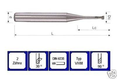Mini Schaftfräser 0,6 mm VHM 2 schneidig 30° DIN 6535