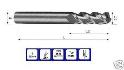 Schaftfräser 10 mm Lang VHM 3 schneidig 45° DIN 6535