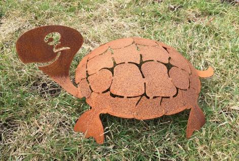 Schildkröte 3D Schildi 45cm Rost Edelrost Metall Rostfigur Gartendeko Teichdeko - Vorschau 4