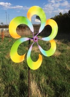 Windrad bunte Blume Metall D43cm L148cm Windmühle Windspiel Gartenstecker - Vorschau 2