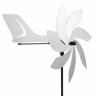 Windspiel Flugzeug JET AERO Edelstahl Windmühle Windrad Gartenstecker wetterfest
