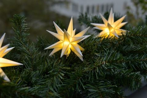 3er LED Sternenkette 12cm weiß für Batterie Außen Lichterkette Stern Weihnachten