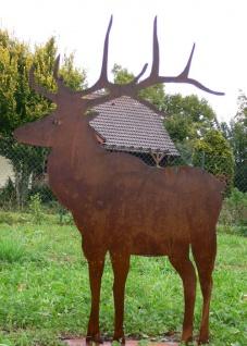 Hirsch 1m hoch Rost Edelrost Metall Tier Rostfigur Gartendekoration Gartendeko
