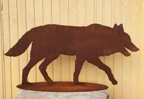 Großer Wolf gehend auf Platte 127x60cm Edelrost Rost Metall Rostfigur Hund