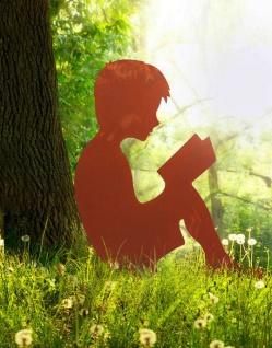 Junge liest Buch 80x70cm Rost Edelrost Metall Rostfigur Kind Bub Dekoration
