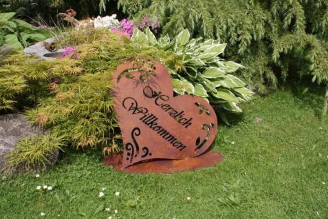 HERZLICH WILLKOMMEN 51x53cm Schild auf Platte Herz Edelrost Rost Gartendeko - Vorschau 2
