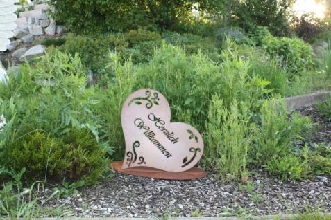 HERZLICH WILLKOMMEN 51x53cm Schild auf Platte Herz Edelrost Rost Gartendeko - Vorschau 4