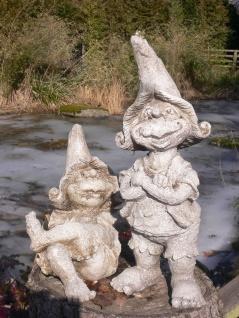 2er Set WICHTEL 17cm / 30cm Polyresin Gnom Troll Gartenzwerg Zwerg Kunstharz