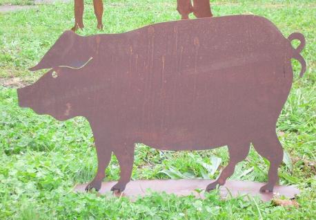 SCHWEIN Hausschwein 80x50cm Rost Edelrost Metall Bauerhof Wildschwein Garten