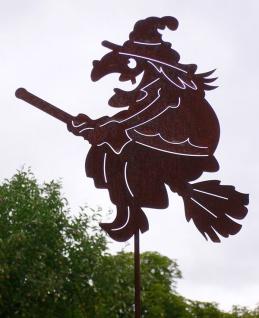 Hexe fliegend auf Besen 40x115 cm Rost Edelrost Metall Figur Gartenstecker Hexen