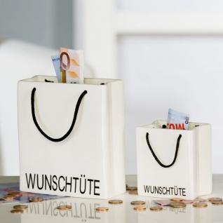 Spardose Wunschtüte groß H15cm weiß mit Schriftzug Design Porzellan Sparschwein