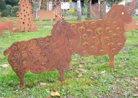 SCHAFE Gartenstecker 2 Sorten Schaf Schäfchen Ziege Widder Edelrost Rost