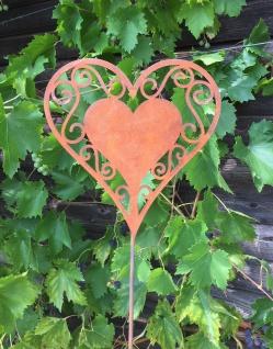 HERZ filigran 17cm x 70cm Gartenstecker Edelrost Rost Rostherz Ornament Geschenk