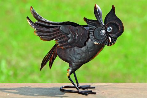 EULE VIOLA 26x34cm Metall lackiert Dekoration Deko Tier Figur Vogel Uhu Geschenk