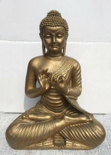 BUDDHA IM LOTUSSITZ H48cm bronze finish Kunstharz Dekoration Figur Skulptur