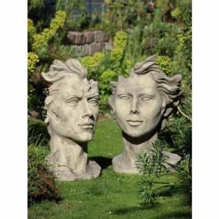 Gesicht MANN UND FRAU 90cm Skulptur Steinfigur Steinguss Antik grau Vidroflor