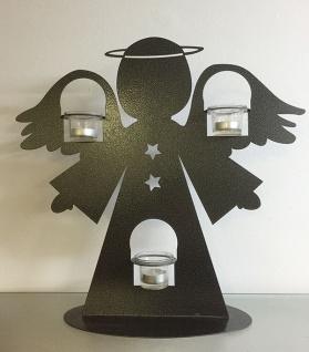 Engel mit Windlicht H48cm Metall Schwarz Silber Edelrost Figur Figur Weihnachten