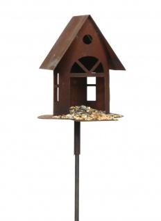 Vogelhaus mit Steg Futterhaus zum Beleuchten H19cm + Stab Gartenstecker Edelrost