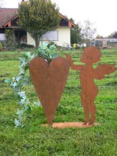 Engel mit Pflanzherz Herz zum Bepflanzen Rost Edelrost Metall Figur Rostfigur