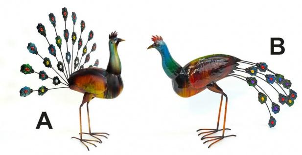 PFAU 60cm Metall bemalt 2 Sorten Dekoration Figur Vogel Skulptur außergewöhnlich