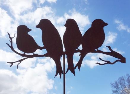 4 Vögel auf Zweig 50x26cm + Stab Gartenstecker Vogel Rost Edelrost Gartendeko