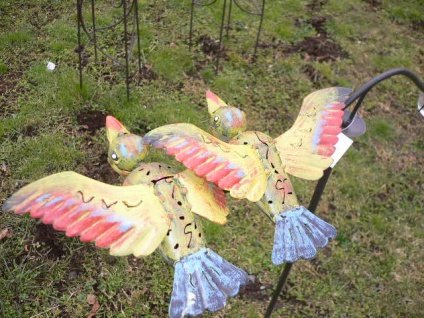 Windspiel Vögel gelb bunt Metall 60x120cm Wind Wippe Vogel Pendel Gartenstecker - Vorschau 2