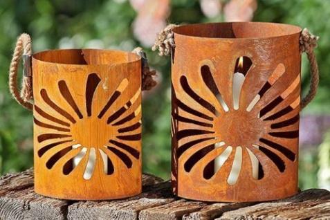 Windlicht Sonne Blume Laterne 2 Sorten H21/25cm Edelrost Rost Dekoration Garten