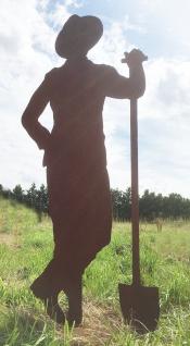 Gärtner Paul mit Schaufel 175cm Rost Edelrost Metall Rostfigur Gartendeko