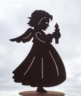 ENGEL MIT KERZE 35x22cm Rost Edelrost Metall Figur Rostfigur Weihnachten